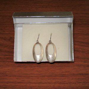 3/$36 - New in box! Silver tone drop oval earrings